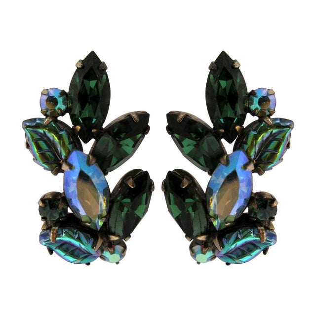 Pair of Blue and Green Regency Clip Earrings For Sale - Image 4 of 4
