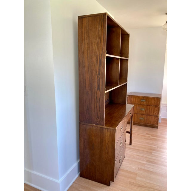 Dixie Campaigner Desk with faux bamboo legs and a detachable hutch bookshelf. Solid construction with dovetail joints,...