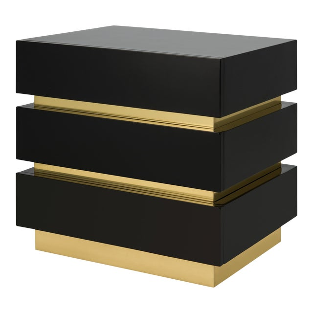 Banded Nightstand in Black / Brass - Flair Home for The Lacquer Company For Sale