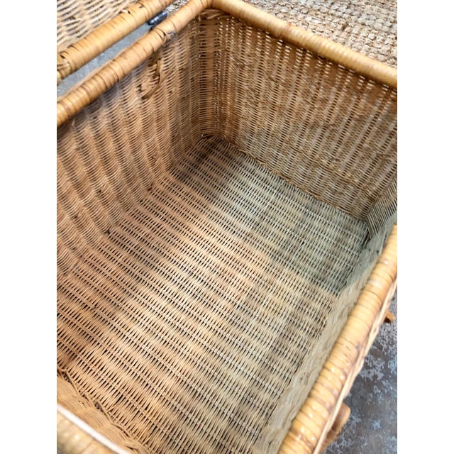 1950s French Rattan Picnic /Trunk Basket For Sale - Image 5 of 8