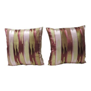 Pair of Asian Decorative Silk Woven Japanese Obi Pillows For Sale