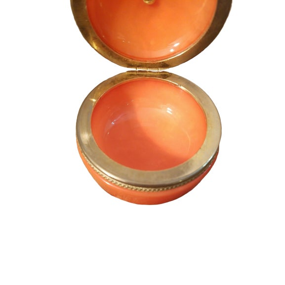 1940s 1940s Orange Opaline Trinket Box with Brass Finial For Sale - Image 5 of 6