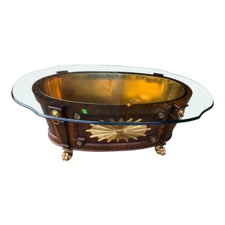 Maitland Smith Vintage Planter with Brass Insert and Glass Top For Sale