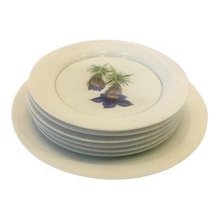 1970s Rosenthal Floral Porcelain Dessert Plates - Set of 7 For Sale