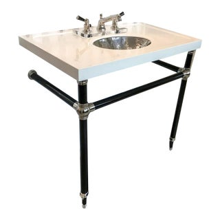 Palmer Industries Custom Black and Brass Sink For Sale