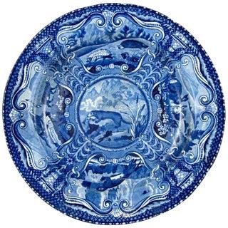 English Staffordshire John Hall Quadruped Blue & White Transfer Plate, River Otter For Sale