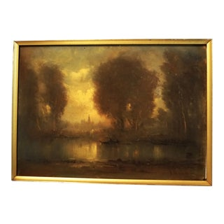 Early 20th Century Antique Impressionist Inspired Fall Lakeside Scene Oil on Canvas Painting For Sale