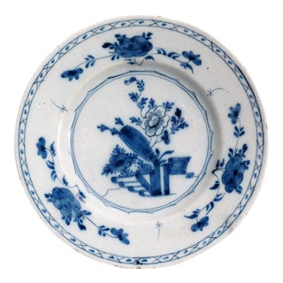 19th-Century Delft Chinoiserie Plate For Sale