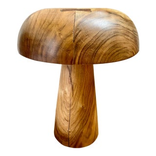 Mushroom Cap Form Carved Teak Stool For Sale