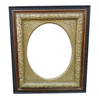 1880 Vintage Oak Triple Frame With Gilded Oval Center For Sale
