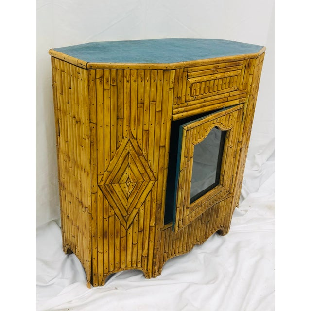 Wood Antique Split Bamboo Curiosity Cabinet Display Case For Sale - Image 7 of 8