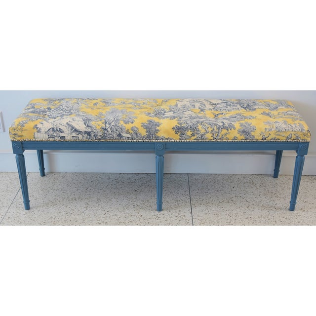French-Style Yellow, White & Blue-Gray Toile Bench For Sale - Image 12 of 13