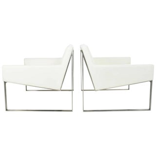 B3 White Leather Lounge Chairs by Fabien Baron for Bernhardt - A Pair For Sale