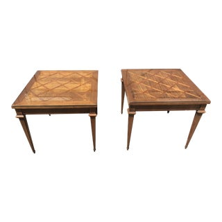 Mid-Century Lane Furniture Weaved Wood Side Tables - a Pair