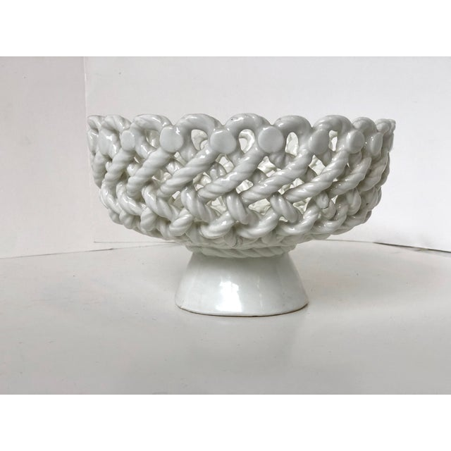 Italian Woven Rope White Ceramic Compote For Sale - Image 4 of 12