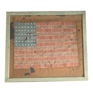 1930s American Flag Folk Art Postage Stamp Collage, Framed For Sale