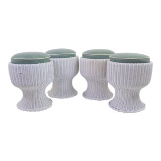 Tropical Modern Set of Four Mushroom Shaped White Wicker Rattan Benches Stools, 1940s.
