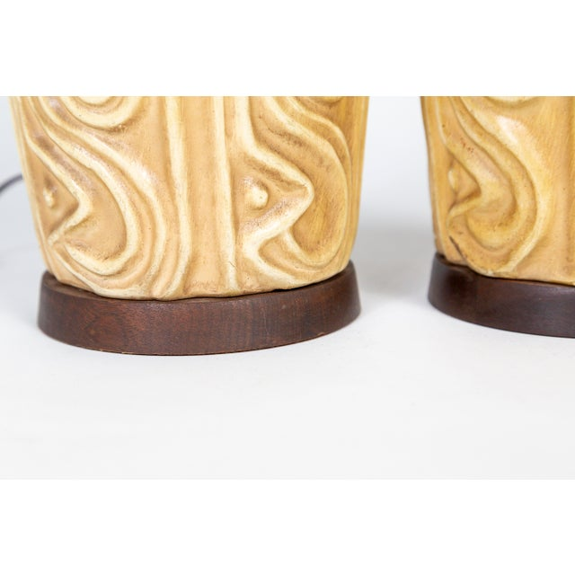Gold Tall Mid-Century High Relief Carved Tan Pottery Lamps - a Pair For Sale - Image 8 of 11