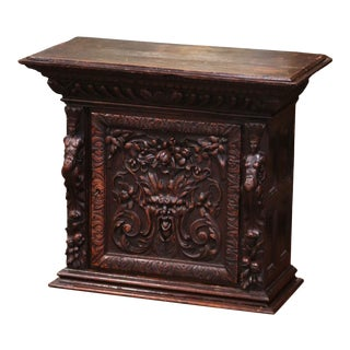 18th Century Italian Renaissance Carved Walnut Wall Hanging Cabinet For Sale