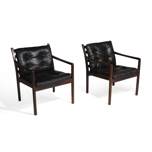 Mid-Century Modern Ole Wanscher Rosewood Lounge Chairs in Original Leather - a Pair For Sale - Image 3 of 11