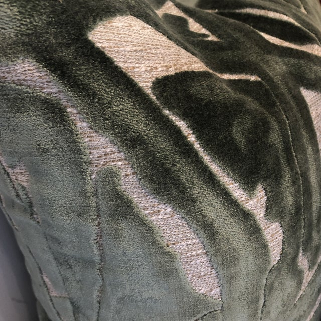 """2010s Sage Green Graffiti Cut Velvet 22"""" Pillows-A Pair For Sale - Image 5 of 7"""