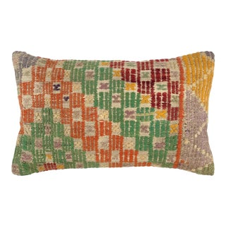 "Chromatic Checkers Kilim Lumbar Pillow 12"" X 20"" For Sale"
