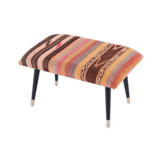Pasargad Home Bosphorus Collection Pink & Brown Kilim Cover Ottoman For Sale