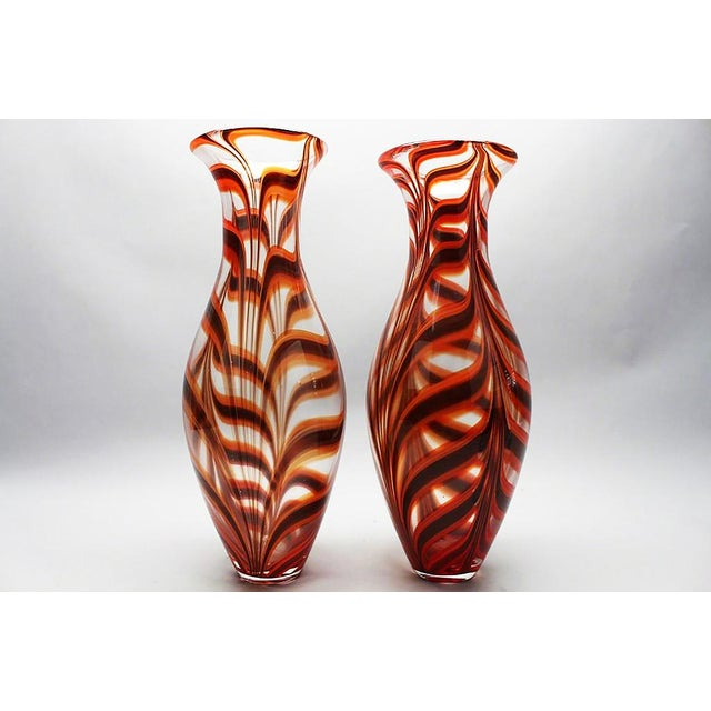 """Ercole Barovier Italian (1889-1974) Rare Handblown Glass """"A Spina"""" Vases 1958 Very rare pair of vases H.18 in. D. 4 in...."""