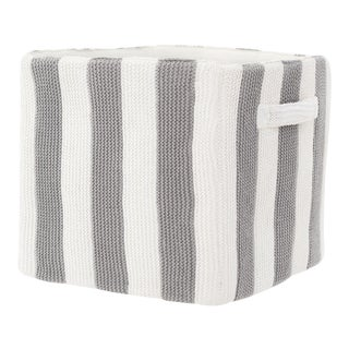 """Stripped Knitted Cotton Storage Bin - Gray and White 