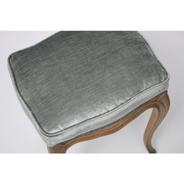 Gray Vintage Louis XV Beechwood Benches / Stools in Blue-Grey Silk Velvet - a Pair For Sale - Image 8 of 11