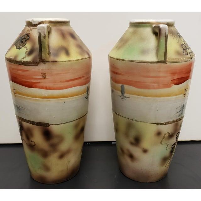 Japanese Circa 1910 Japanese Royal Nippon Porcelain Sailing Ship/Grapevine Motif Vases - a Pair For Sale - Image 3 of 7