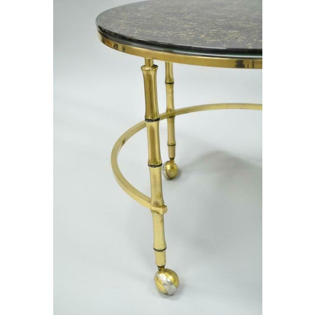 1970s 1970s Hollywood Regency Brass and Glass Faux Bamboo Round Nesting Expanding Cocktail Coffee Side Table For Sale - Image 5 of 11