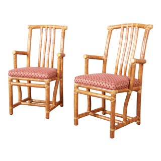 McGuire Hollywood Regency Organic Modern Bamboo Rattan Club Chairs - a Pair For Sale