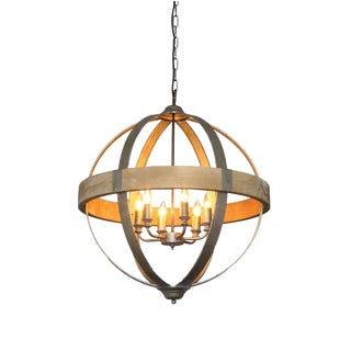 Metal and Wood Orb Pendant Light For Sale