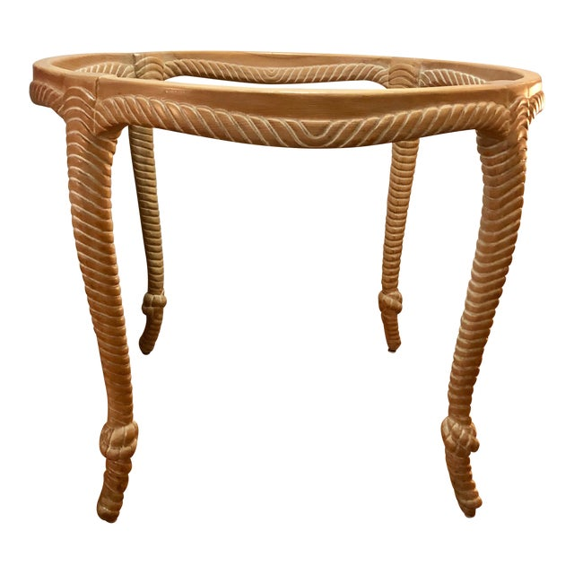 Vintage Italian Carved Wood Rope and Knot Round Table With Beveled Glass Top Faux Bois Hollywood Regency Palm Beach For Sale