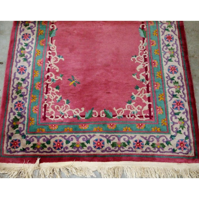 Early 20th Century 1930s Handmade Antique Art Deco Chinese Rug 2.10' X 5.10' For Sale - Image 5 of 9
