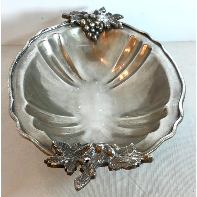 Metal Mid Century Vintage Silver Serving Dish With Grape Motif For Sale - Image 7 of 9