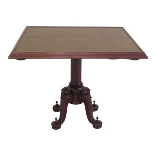 1990s Vintage Titanic Collection Square Mahogany Leather Top Games Table For Sale