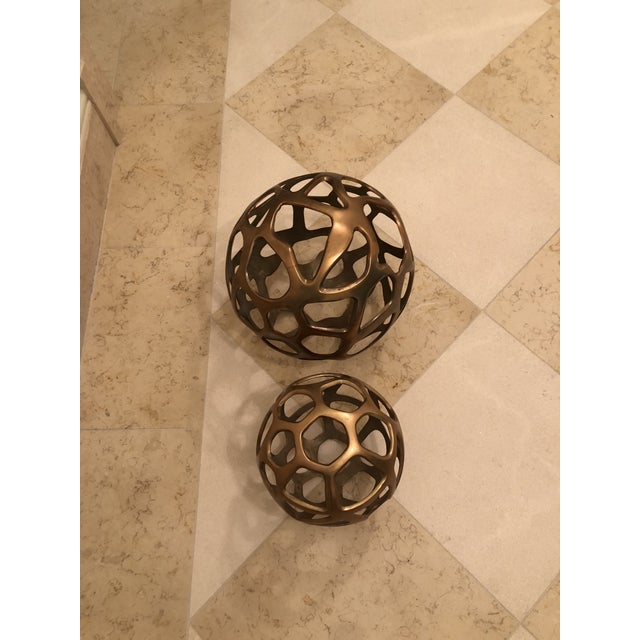 Modern Arteriors Modern Decorative Spheres - a Pair For Sale - Image 3 of 4