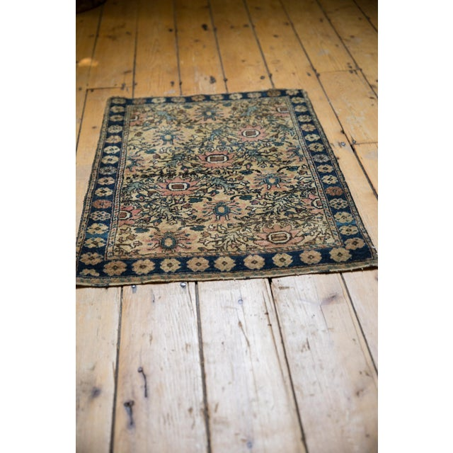 "Blue Vintage Farahan Sarouk Square Rug Mat - 2' X 2'6"" For Sale - Image 8 of 10"