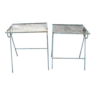 Vintage Blue Steel Side Tables - a Pair