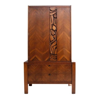 Vintage Brutalist United Furniture Tall Boy Armoire For Sale