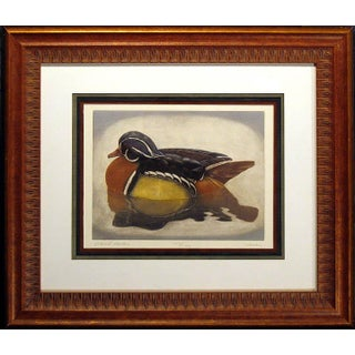 "Geoffrey Lasko ""Wood Duck"" Realistic Hand Signed Limited Edition Framed Etching For Sale"