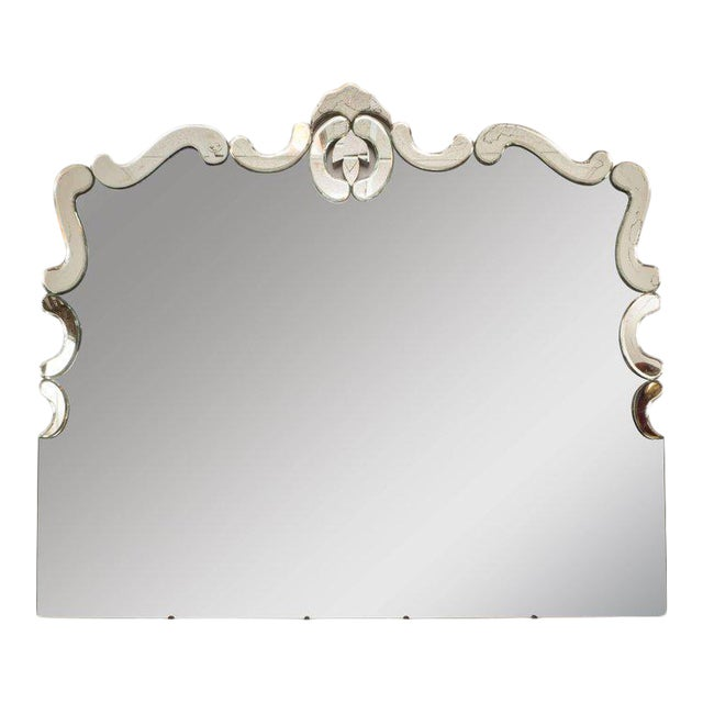 1940s Art Deco Venetian Style Mirror with Raised Scroll Form Border For Sale