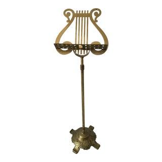 Vintage Brass Ornate Lyre Harp Music Floor Stand For Sale