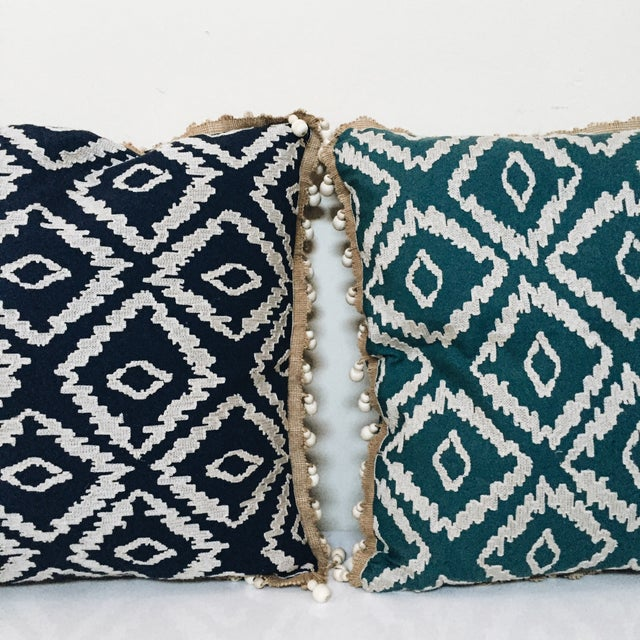 Blue Tribal Pillows - A Pair - Image 4 of 6