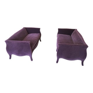 Late 20th Century Vintage Eggplant Mohair Loveseats- A Pair For Sale
