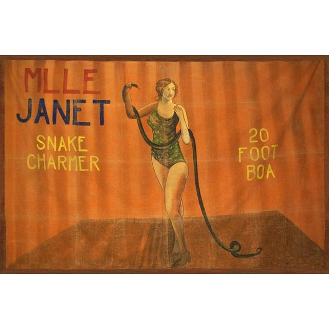 6 ft x 8 ft circa 1920 circus sideshow banner featuring Janet the snake charmer. Truly a piece of early Americana...