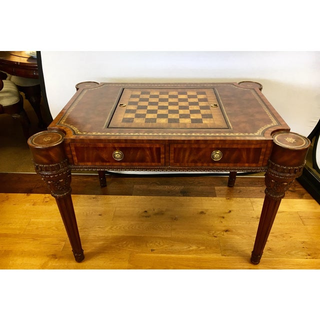Brown Maitland-Smith Carved Mahogany Game Table With Leather Top For Sale - Image 8 of 13