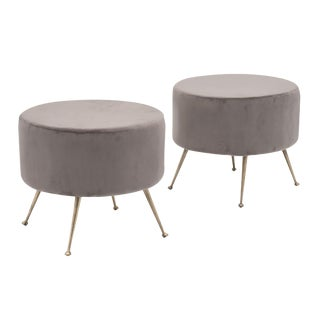 Modernist Italian Velvet Stools For Sale